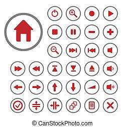 buttons., 編集, コレクション, ベクトル, 容易である, size., オーディオ, (どれ・何・誰)も