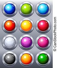 12 multi-coloured web buttons
