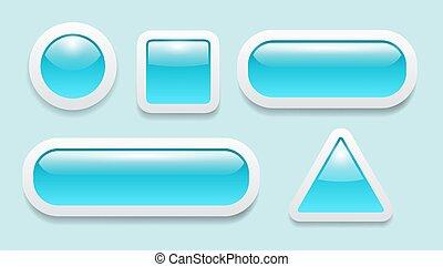 Buttons 3D blue set