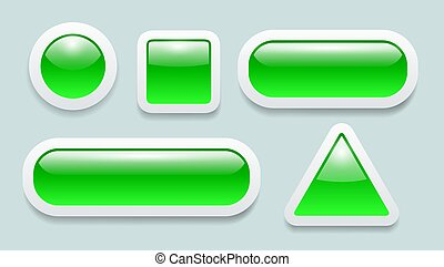 Buttons 3D green and white set