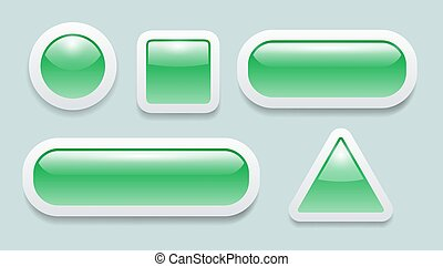 Buttons 3D green set