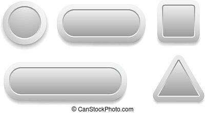 Buttons 3D grey set design