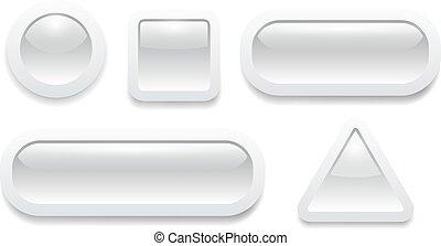Buttons 3D grey set shiny design