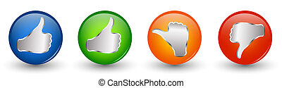 Buttons 3d illustration icon. Thumbs up green and blue -...