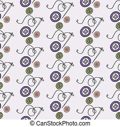 Buttons and needle. Seamless pattern with hand-drawn cartoon sewing tools. Vector illustration.