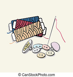 Buttons and reels of thread