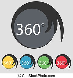 buttons., angolo, colorato, pieno, geometria, simbolo., segno, rotation., vettore, gradi, 360, set, icon., matematica