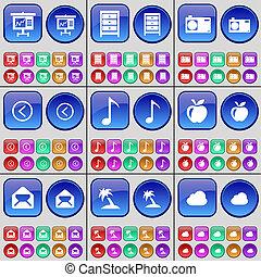 buttons., archive, graphique, grand, paume, ensemble, appareil photo, message, flèche, multi-coloré, gauche, cloud., pomme, note