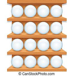 buttons., arte, legno, mensola, vetro, vettore, rotondo