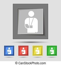 buttons., barwny, inwalidztwo, znak, złamana ręka, wektor, piątka, oryginał, ikona