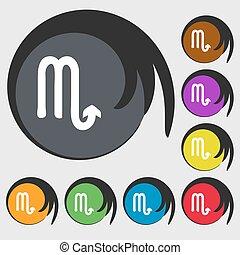 buttons., barwny, skorpion, znak, symbolika, wektor, osiem, icon.
