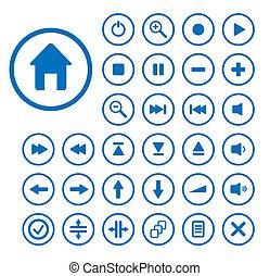 buttons., bewerken, verzameling, vector, gemakkelijk, size., audio, enig