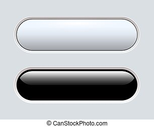 Buttons black and grey isolated, navigation  panel for ...