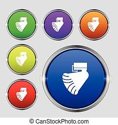 buttons., cégtábla., gramofon, jelkép, fényes, vektor, icon., színpompás, kerek
