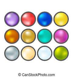 buttons., collection, multicolore, vecteur