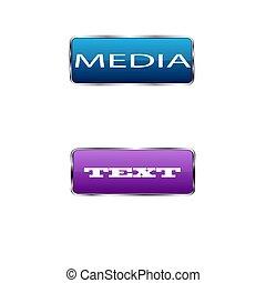 buttons., coloré, illustration, vecteur, carrée, fond, blanc