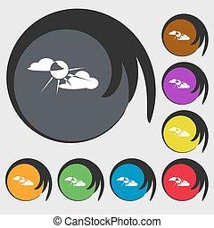 buttons., coloré, soleil, signe, symboles, derrière, vecteur, huit, icon., nuage