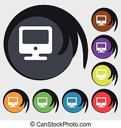 buttons., colorato, simbolo, vettore, otto, icona, segno., monitor