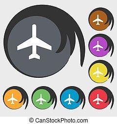 buttons., colorido, símbolo, vetorial, oito, avião, sinal., ícone