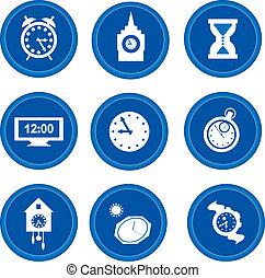 buttons., concept, tijd