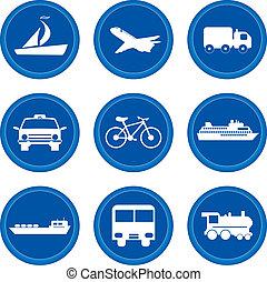 buttons., concept, vervoeren