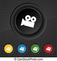 buttons., conjunto, cámara, button., señal, contenido, vector, vídeo, icon., colorido