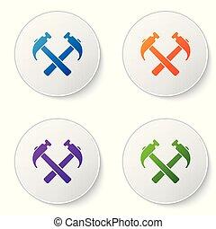 buttons., conjunto, color, herramienta, blanco, aislado, ilustración, dos, fondo., vector, cruzado, círculo, repair., martillos, icono