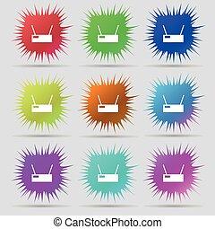 buttons., conjunto, signo., aguja, vector, nueve, wi - fi, original, icono