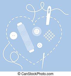 buttons., coração, stitched, fio, agulha, cosendo