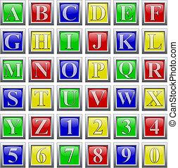 buttons., -, editable, イラスト, ベクトル, 数, 容易である, アルファベット, グロッシー