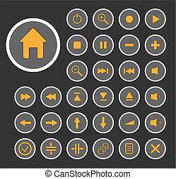 buttons., editar, cobrança, vetorial, fácil, size., áudio, qualquer
