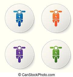 buttons., ensemble, électrique, icônes, couleur, scooter, isolé, illustration, arrière-plan., vecteur, cercle blanc, icône