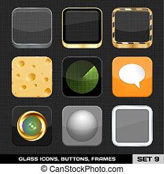 buttons., ensemble, coloré, 9., app, cadres, vecteur, ...
