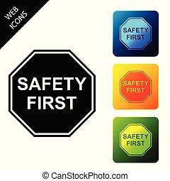 buttons., ensemble, coloré, icônes, isolated., octogonal, illustration, forme, vecteur, carrée, sécurité, icône, premier