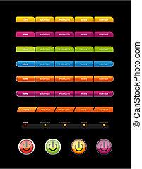 buttons., ensemble, coloré
