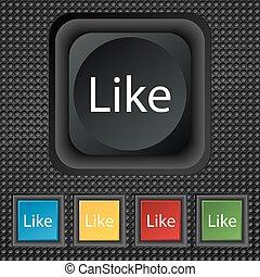 buttons., ensemble, coloré, signe, vecteur, icon., aimer