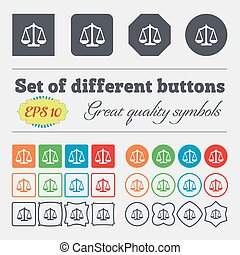 buttons., ensemble, high-quality, balances, grand, coloré, balance., vecteur, divers