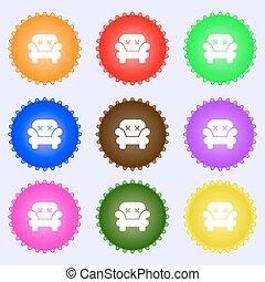 buttons., ensemble, high-quality, grand, signe., coloré, vecteur, fauteuil, divers, icône
