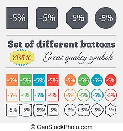 buttons., ensemble, high-quality, offre, grand, cent, vente, symbole., signe, escompte, vecteur, 5, label., divers, icon., coloré, spécial
