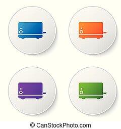 buttons., ensemble, icônes, couleur, grille-pain, isolé, illustration, arrière-plan., vecteur, cercle blanc, icône