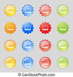 buttons., ensemble, ordinateur portable, symbole., cahier, signe, pc, vecteur, icon., colur