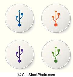 buttons., ensemble, usb, couleur, symbole, isolé, illustration, arrière-plan., vecteur, cercle blanc, icône