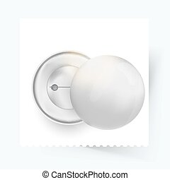 buttons., eps10, épingle, lumière, haut, illustration, isolé, réaliste, vecteur, fond, blanc, écusson, shadow., railler