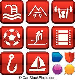 buttons., extérieur, ensemble, icônes, carrée, géométrique, style.