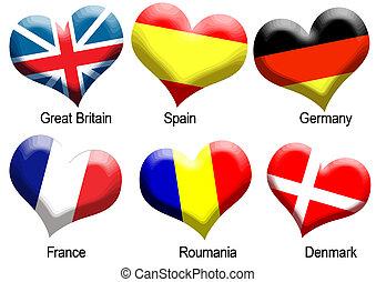Buttons flag heart shape