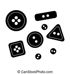 Buttons for clothes. Sewing or tailoring tools kit single icon in black style bitmap, raster symbol stock illustration.