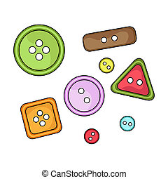Buttons for clothes. Sewing or tailoring tools kit single icon in cartoon style rater, bitmap symbol stock illustration.