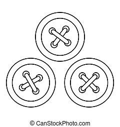Buttons for sewing icon, outline style