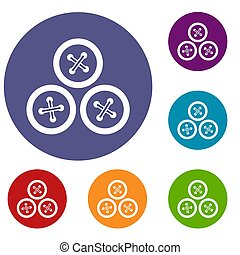 Buttons for sewing icons set in flat circle reb, blue and...