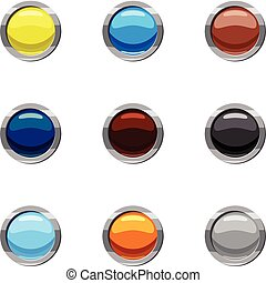 Buttons for web icons set, cartoon style